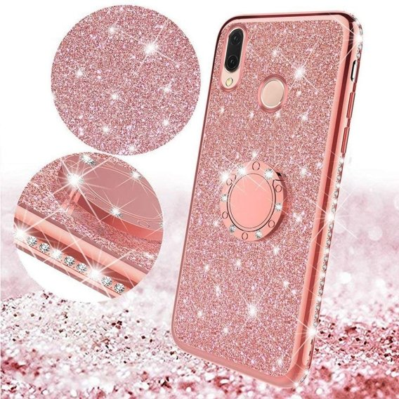 Etui do Huawei P20 Lite - ERBORD Bling - Rose Gold
