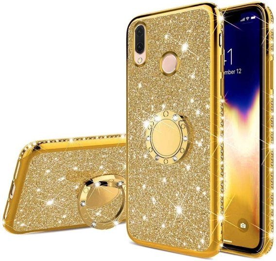 Etui do Huawei P20 Lite - ERBORD Bling - gold