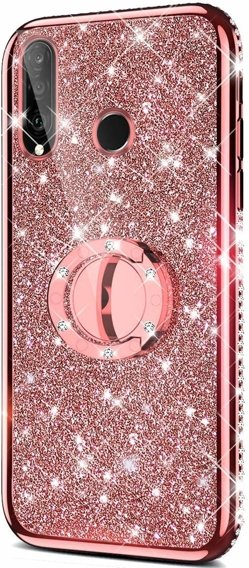 Etui do Huawei P30 Lite - ERBORD Bling - Rose Gold