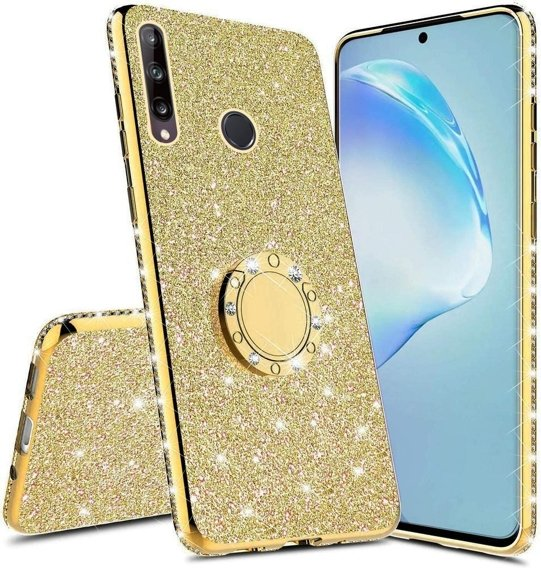 Etui do Huawei P40 Lite E - ERBORD Bling - Gold