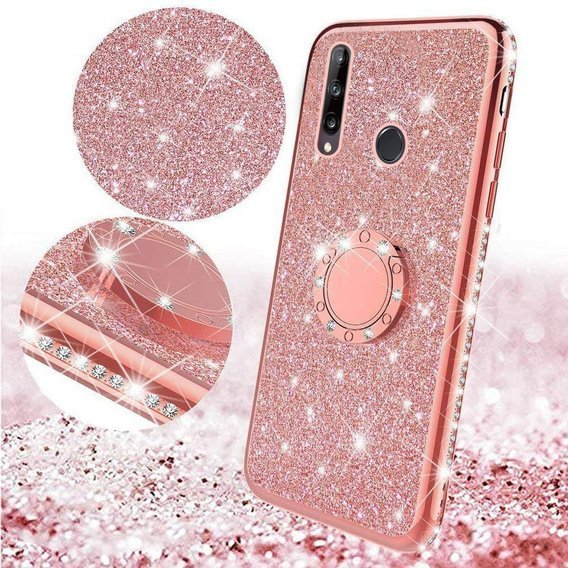 Etui do Huawei P40 Lite E - ERBORD Bling - Rose gold