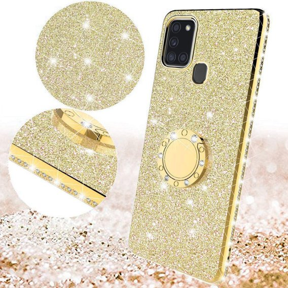 Etui do Samsung Galaxy A21S - ERBORD Bling - Gold