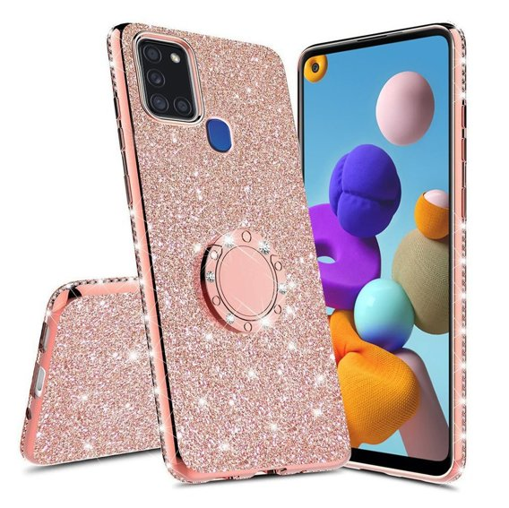 Etui do Samsung Galaxy A21S - ERBORD Bling - Rose gold