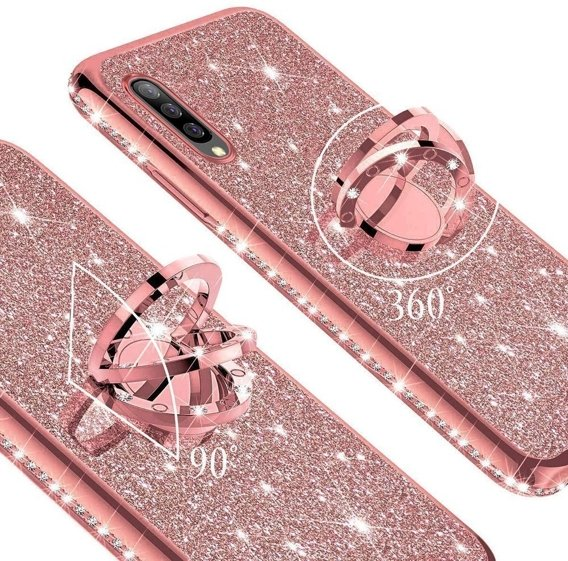 Etui do Samsung Galaxy A7 2018 - ERBORD Bling -Rose Gold