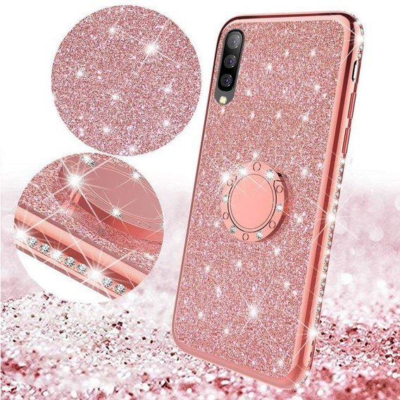 Etui do Samsung Galaxy A70 - ERBORD Bling - Rose Gold