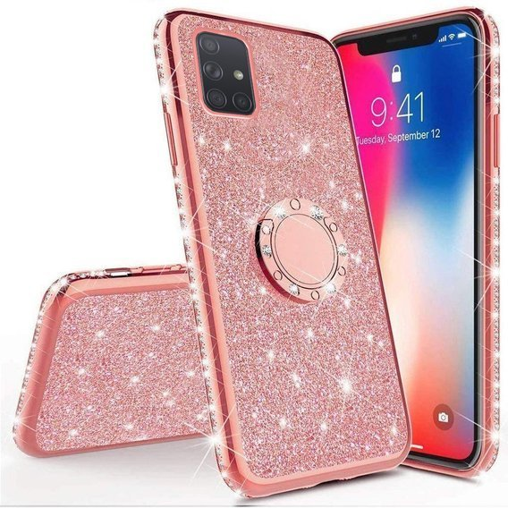 Etui do Samsung Galaxy A71 - ERBORD Bling - Rose Gold