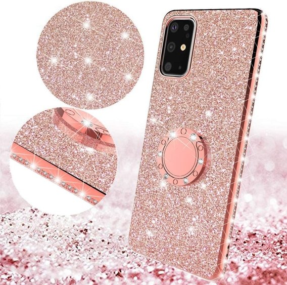 Etui do Samsung Galaxy S20 - ERBORD Bling - Rose Gold