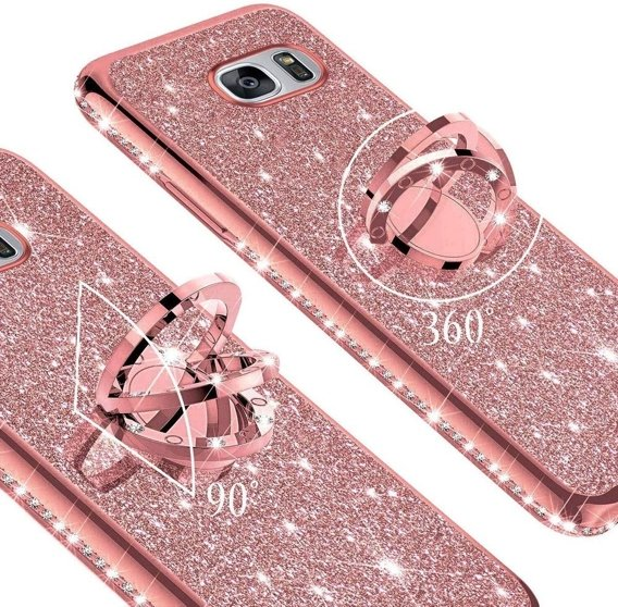Etui do Samsung Galaxy S7 - ERBORD Bling - Rose Gold