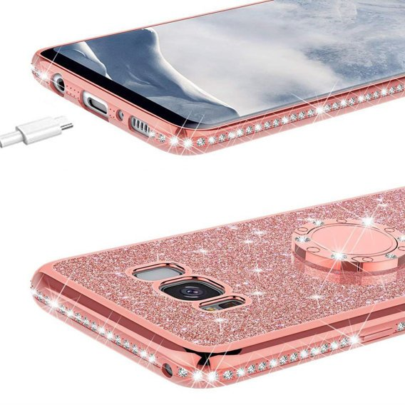 Etui do Samsung Galaxy S8+ Plus - ERBORD Bling - Rose Gold