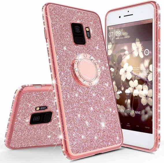 Etui do Samsung Galaxy S9 - ERBORD Bling - Rose Gold