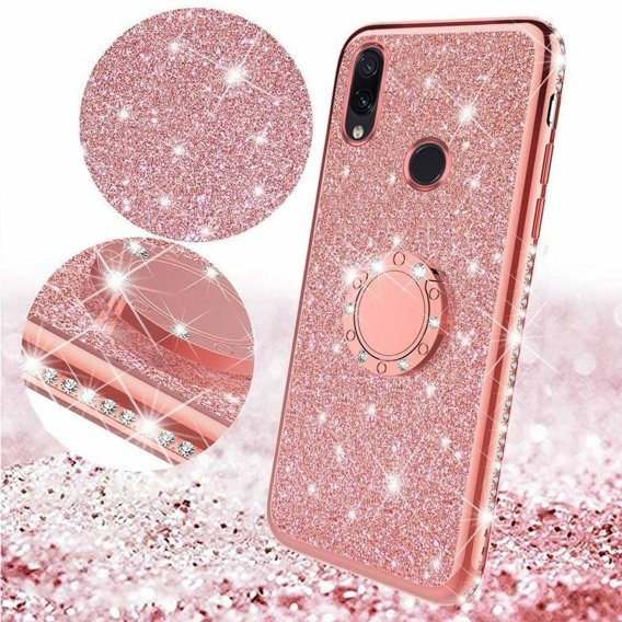 Etui do Xiaomi Redmi Note 7 - ERBORD Bling - Rose Gold