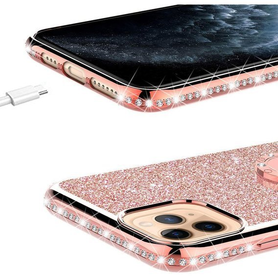 Etui do iPhone 11 - ERBORD Bling - Rose Gold