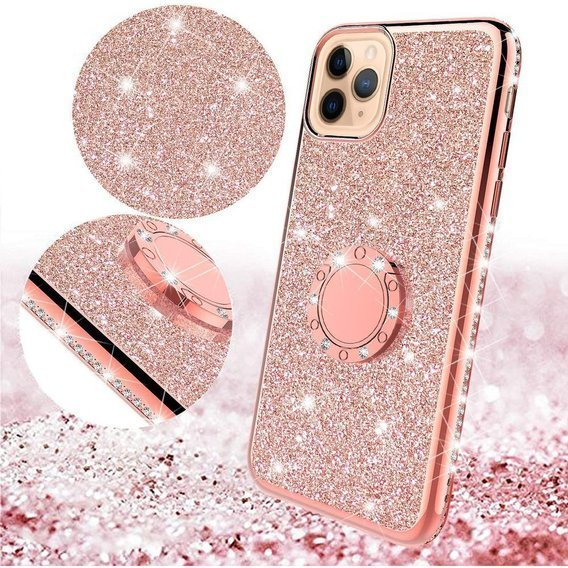 Etui do iPhone 11 Pro - ERBORD Bling - Rose Gold