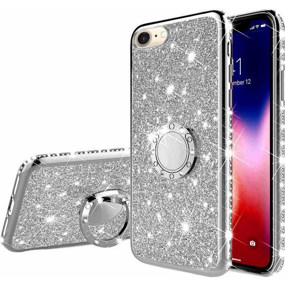 Etui do iPhone 7/8/SE 2020 - ERBORD Bling - Silver