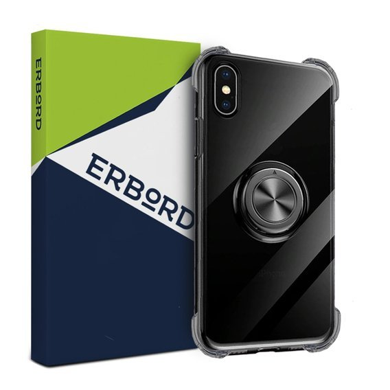 Etui do iPhone X / XS - ERBORD Airbag Ring - Smoke Black