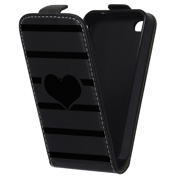 Glossy Etui Flexi Flip iPhone 5/5S - Heart and Stripes