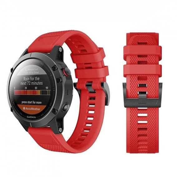 Gumowy Pasek Smooth TPU do zegarka Garmin Fenix 3/5X/3HR (26mm) - Red