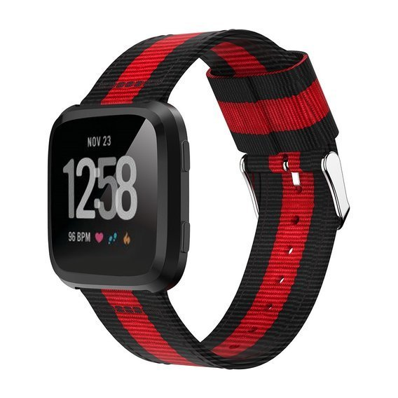 Nylonowy Pasek Welling do Fitbit Versa - Black/Red