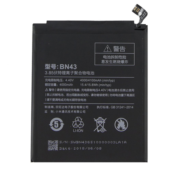 OEM BN43 Bateria do Xiaomi Redmi Note 4X 4000mAh