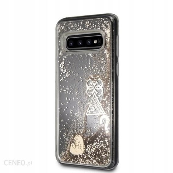 Oryginalne Etui GUESS do Samsung Galaxy S10 - Liquid Glitter Hearts - Gold