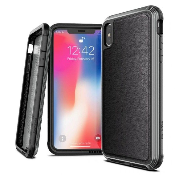 Pancerne Etui X-Doria Defense Lux iPhone XS Max - Black Leather