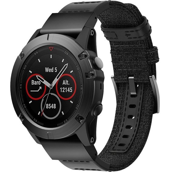 Pasek Canvas + Leather do zegarka Garmin Fenix 5X/5X Plus/Fenix 3/3 HR - Black