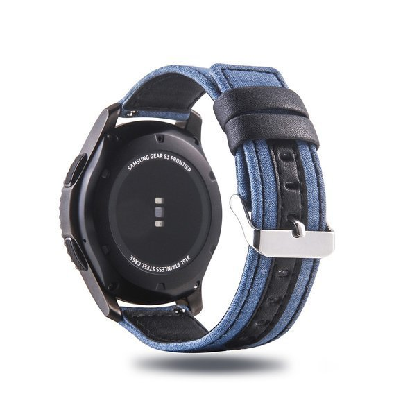 Pasek Cloth and Genuine Leather do zegarka Samsung Galaxy Watch 46 mm - Black / Blue