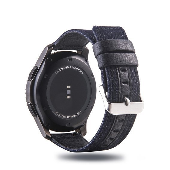 Pasek Cloth and Genuine Leather do zegarka Samsung Galaxy Watch 46 mm - Black / Dark Blue