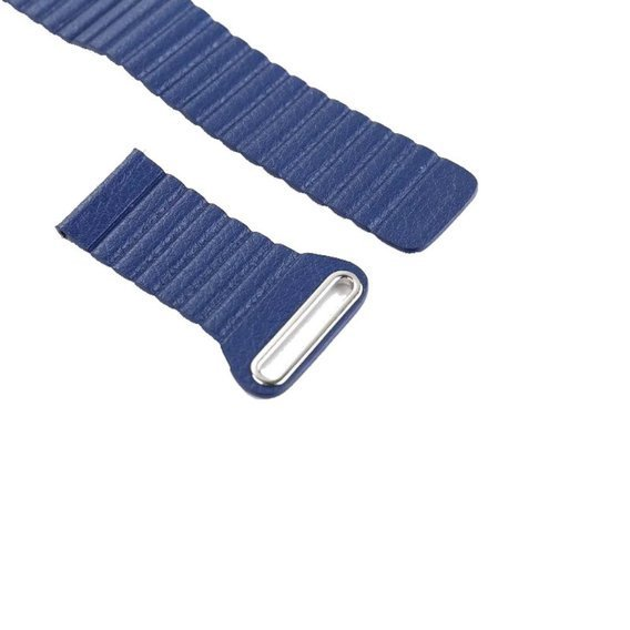 Pasek Leather Magnetic Buckle z teleskopem 22mm - blue