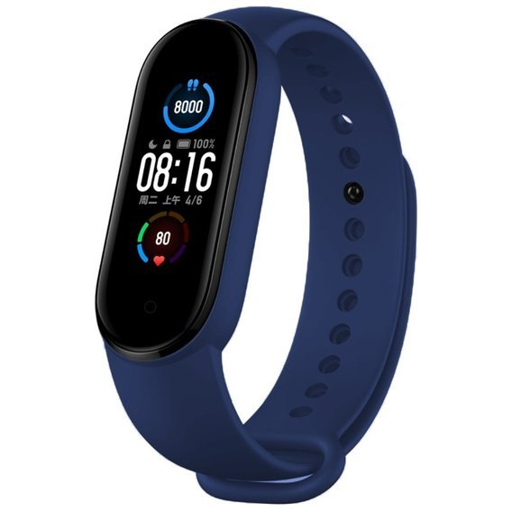 Pasek Silicone Strap do Smartwatcha Xiaomi Mi Band 5 - Dark Blue