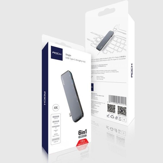 ROCK Adapter Type-C To Multi Port 6in1 - Gray