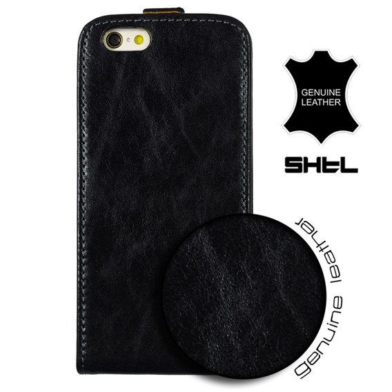 SHTL Etui Genuine Leather Flip Case iPhone 6/6s 4.7 - Black Flower made with Swarovski Elements