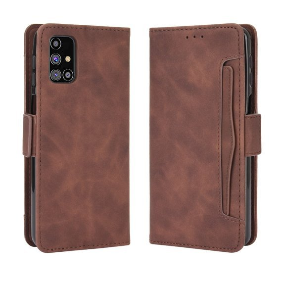 Skórzane Etui Wallet  do Samsung Galaxy M31s, Brown, Card Slot