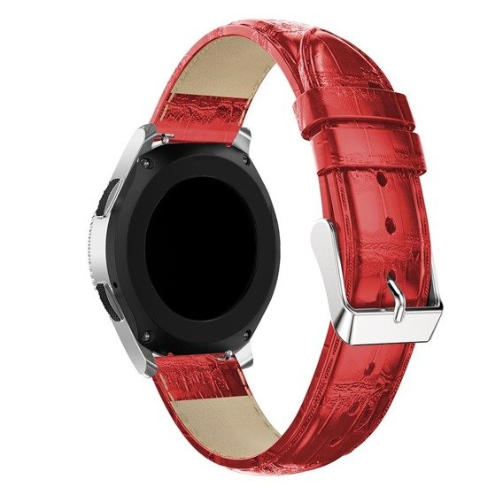 Skórzany Pasek Crocodile do Samsung Galaxy Watch 46mm - Red