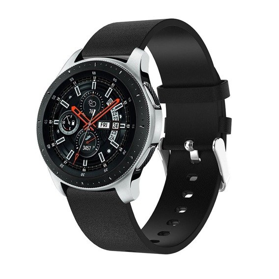 Skórzany Pasek Plain 22mm do Samsung Galaxy Watch 46mm - Black