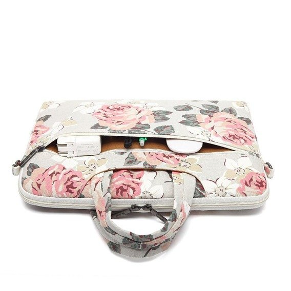 Zestaw CANVASLIFE Briefcase White + Srebrne Etui Glittery ToughShell do MACBOOK AIR 13