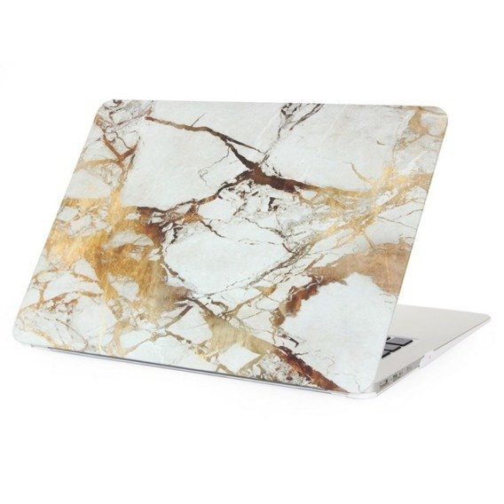 Zestaw CANVASLIFE Sleeve White + Złote Etui MARMUR Hard Case do MACBOOK AIR 13