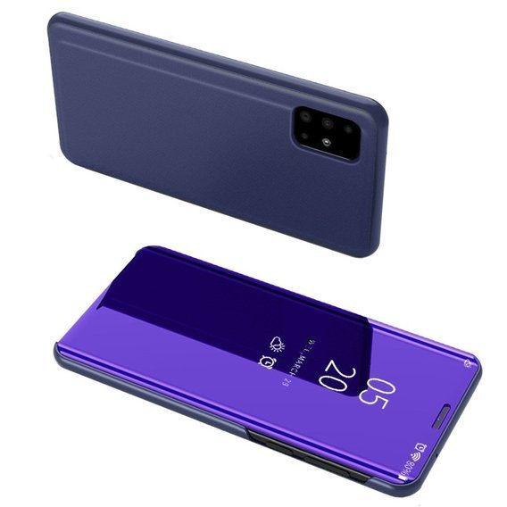 Zestaw Etui Mirror View do Galaxy A51 - dark purple + Szkło 9H